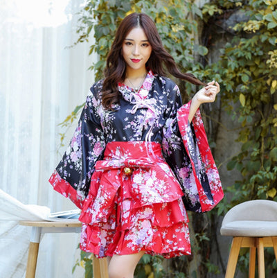 Women's Sexy Sakura Anime Costume Japanese Kimono Vintage Original Tradition Silk Yukata Dress