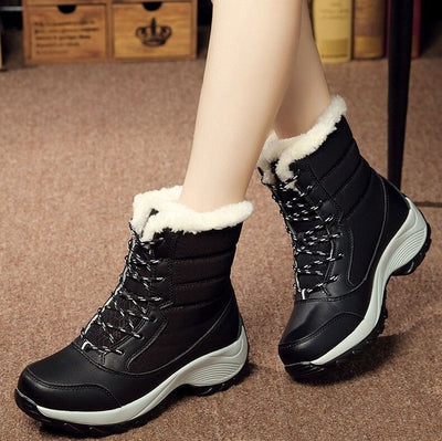 women fashion white winter snow boots