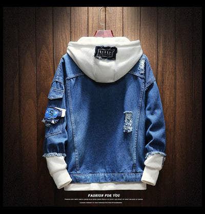 Spring Autumn Fake Two Pieces Patchwork Denim Hooded Jacket