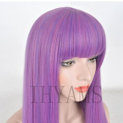 Descendants 2 Mal Bertha Maleficent Long Live Evil Straight Purple kids adult Cosplay Wig + Free Wig Cap