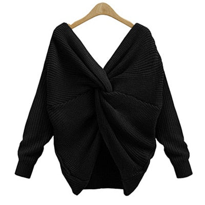 V Neck Black pullovers long sleeve Jumpers Sweater