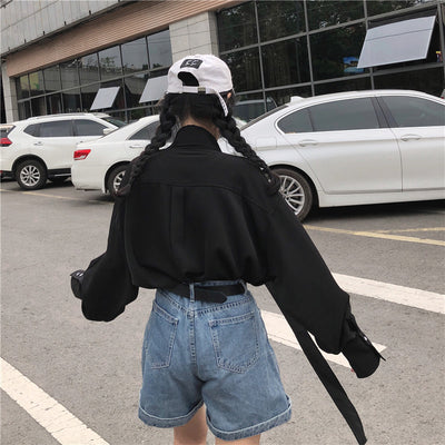 Vintage Gothic Korean Black Hip Hop Punk Style Street Long Sleeve Tops