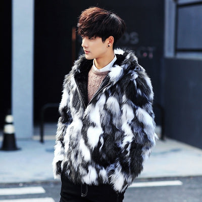 Winter male fur Parka Coats With Hood