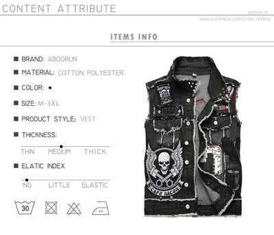 Punk Men's Denim Vest Black Skull Embroidery Denim Waistcoat