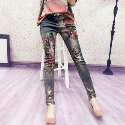 3D Stretchy Jeans With 3D Flowers Pattern Painted  Pencil Pants Denim Pants