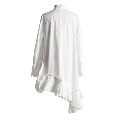 New Spring Summer  Stand Collar Long Sleeve White Loose Irregular Hem Pleated Loose Shirt