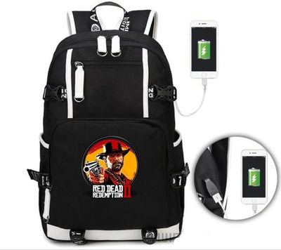 Red Dead Redemption 2 Backpack students USB Charging