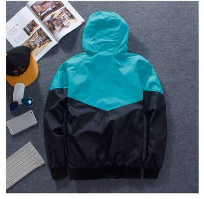 Spring Patchwork Reflective Waterproof Windbreaker Men Coat