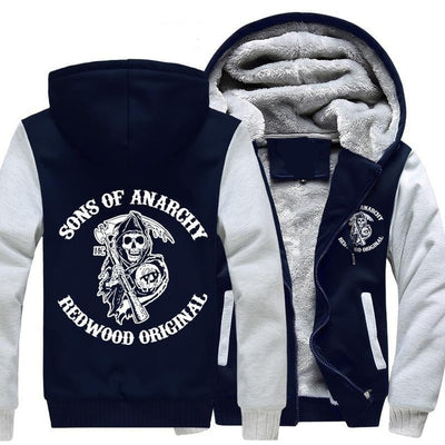 Sons of Anarchy chaos fleece cotton coats Liberalism Jax teller winter zipper Print Mens Hoodies Jacket
