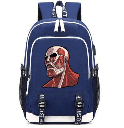 Attack on Titan Backpack Bag Canvas Rucksack w/ USB Fashion Port and Lock / Headphone