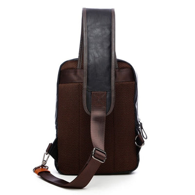 Strap Ches PU Leather Black Backpack
