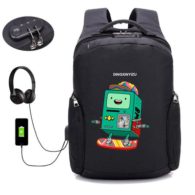 Japan anime Adventure Time USB Charge Anti Theft Backpack