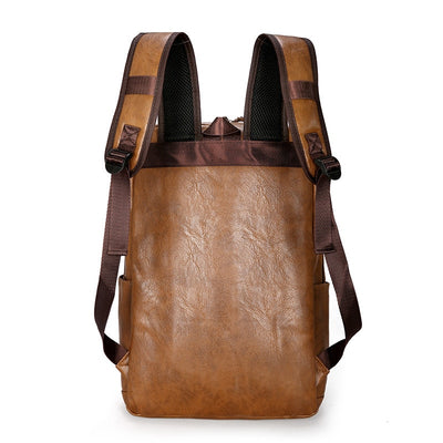 Fashion Men Laptop Waterproof PU Leather Backpack