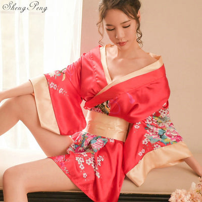 Women Japanese Floral Kimono Robe Sexy Nightgown Sleepwear