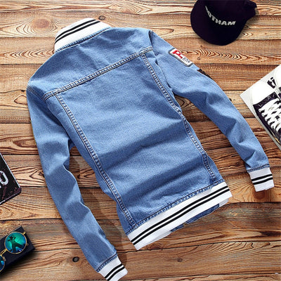 Spring Autumn Pilot Casual Fashion Man Bomber Baseball Denim Jackets