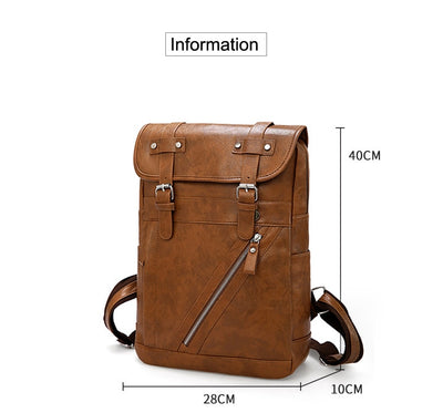 Vintage Designer Men Waterproof PU Leather Backpack