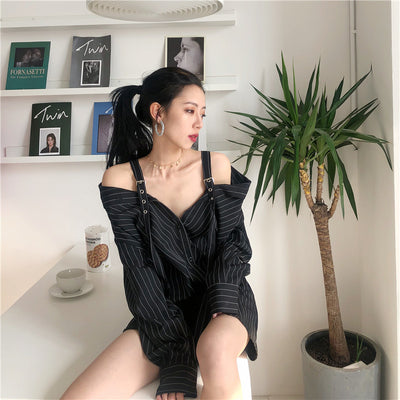 Punk Gothic Women Korean Fashion Sexy Strapless Long Sleeve Vertical Striped Kpop Shirts