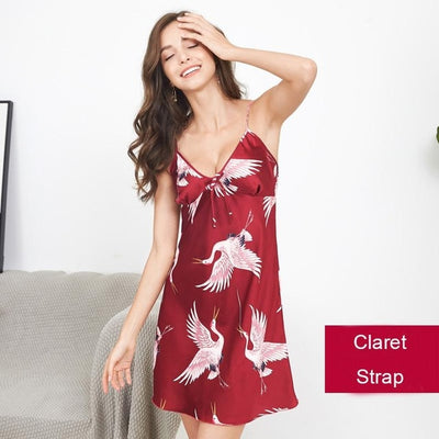 Sexy Lady Printed Animals Robe Satin Rayon Bathrobe Women Kimono Geisha Sleepwear