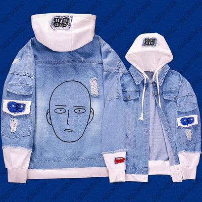 One Punch Man Saitama reflect light Jeans hoodie