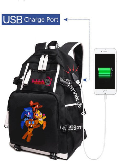 FNAF Five Nights at Freddy's USB charging students Backpack