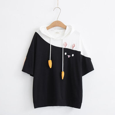 Cute Carrot Short Sleeve Anime Bunny Tee Tops Mori Girl Kawaii T-Shirt