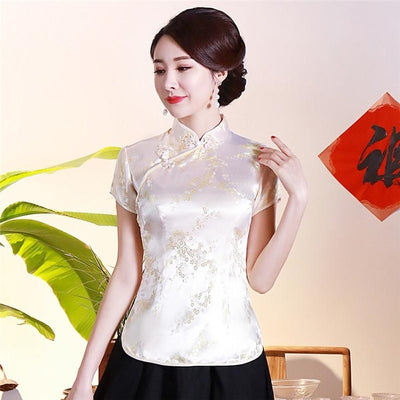 Vintage Flower Women Chinese Traditional Dragon Satin Blouse