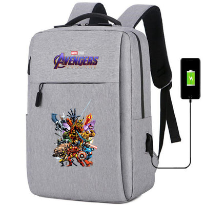 Marvel Avengers Infinity War captain marvel usb charging canvas Backpack