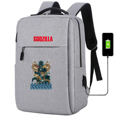 Godzilla: King of the Monsters usb charging canvas travel Backpack