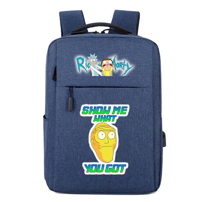 Pickle Rick Meeseeks Rick and morty usb charging Canvas School Backpack