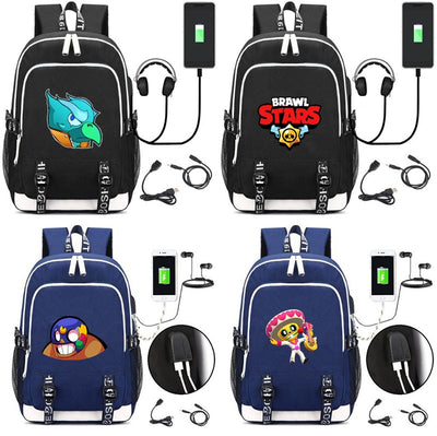 Brawl Stars USB Charging canvas Backpack