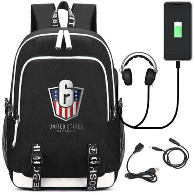Rainbow Six Siege USB Charging canvas Backpack