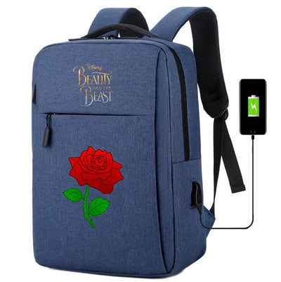 Movie Beauty and the Beast usb charging canvas Backpack