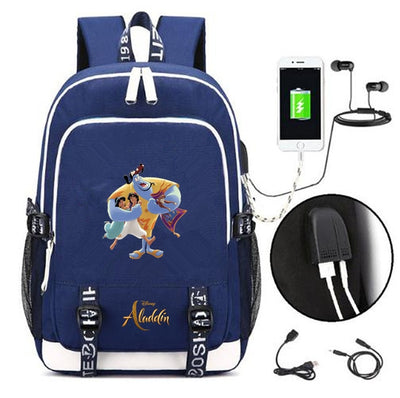 Movie Aladdin USB Charging canvas Backpack
