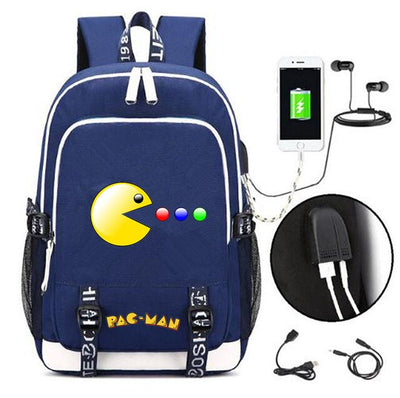 Pac-man USB Charging canvas Backpack