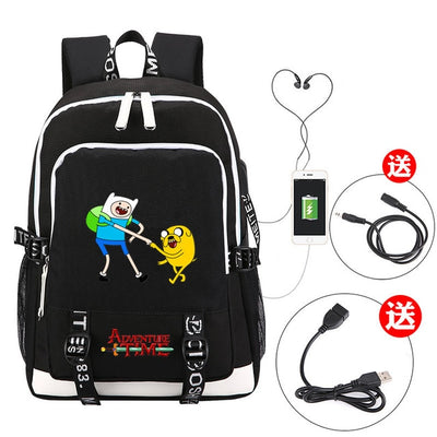 Children's Adventure Time canvas USB Charging school Backpack