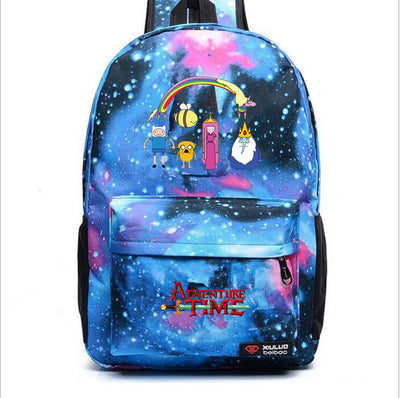 Adventure Time printing shoulder canvas backpack