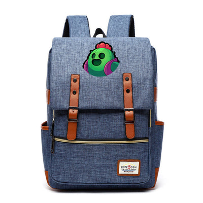 Brawl Stars Spike Gene Primo Canvas School Backpack
