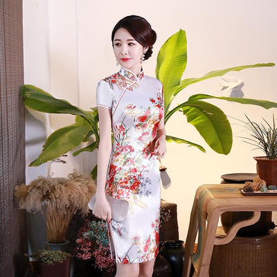 Slim Short Sleeve Traditional Chinese Style Mandarin Collar Cheongsam