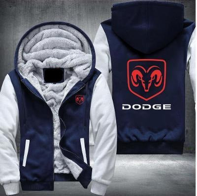 Dodge Printing Pattern Thicken Fleece Zipper Hoodies Jacket