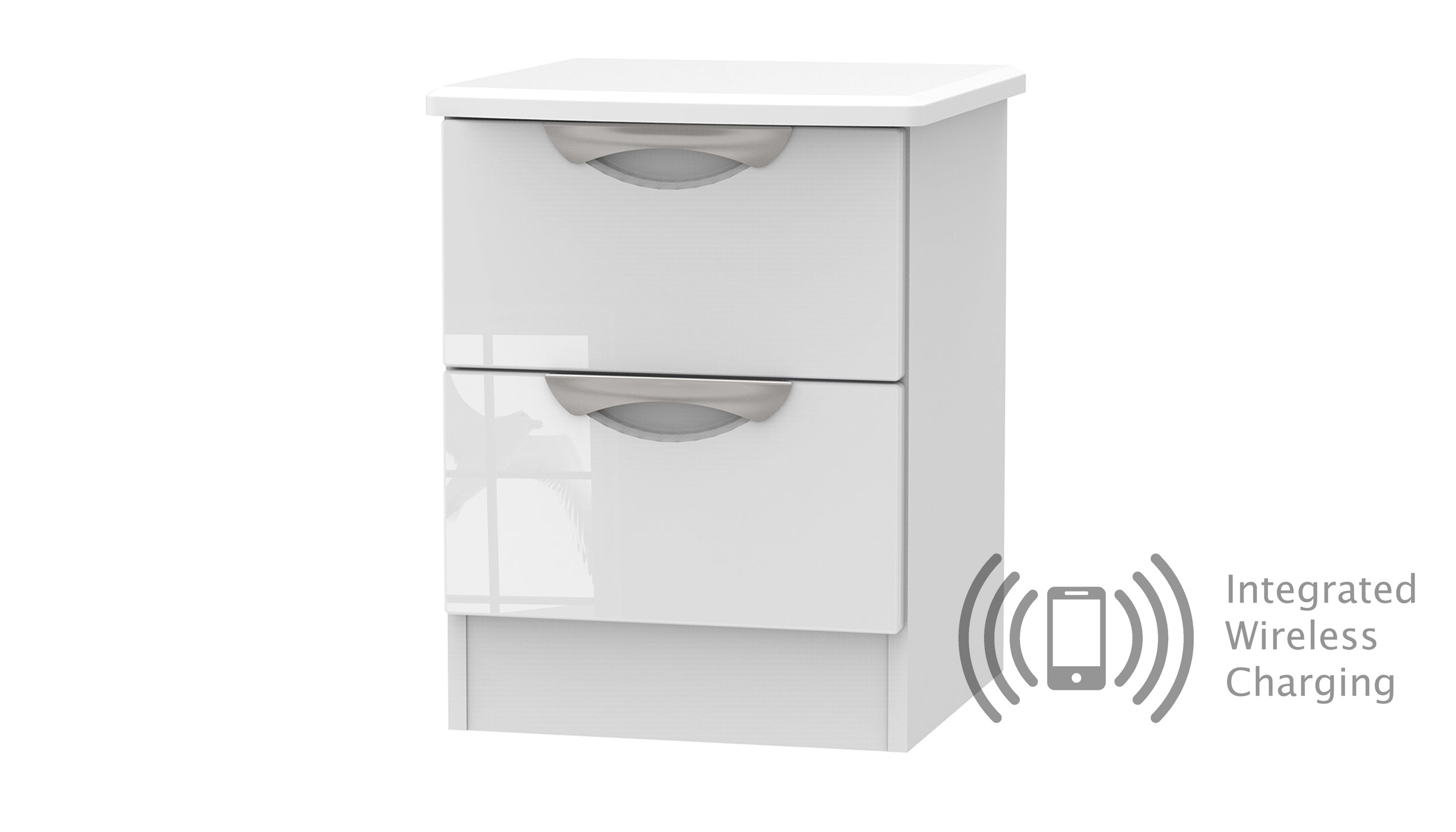 Moda 2 Drawer Bedside Chest with Wireless Charger - AHF Furniture & Carpets