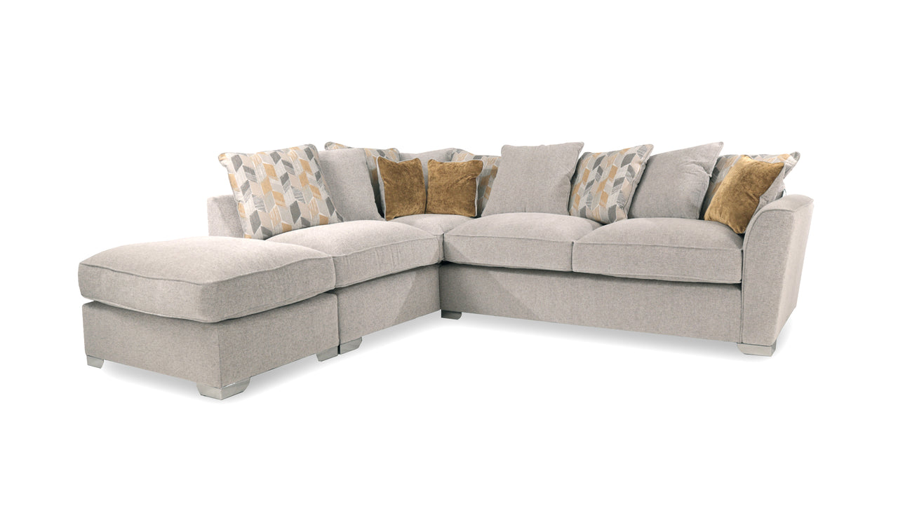 Hepburn Scatter Back Left Hand Facing Corner Sofa with Stool