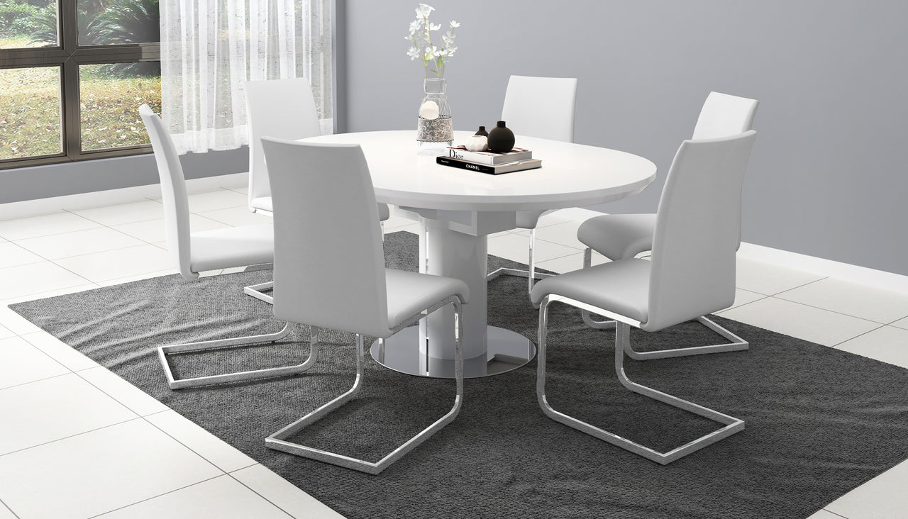 Kyoto White Round Extending Dining Table with 4 Chairs