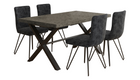 Brooklyn Concrete Effect Large Dining Table with 4 Chairs - AHF Furniture & Carpets