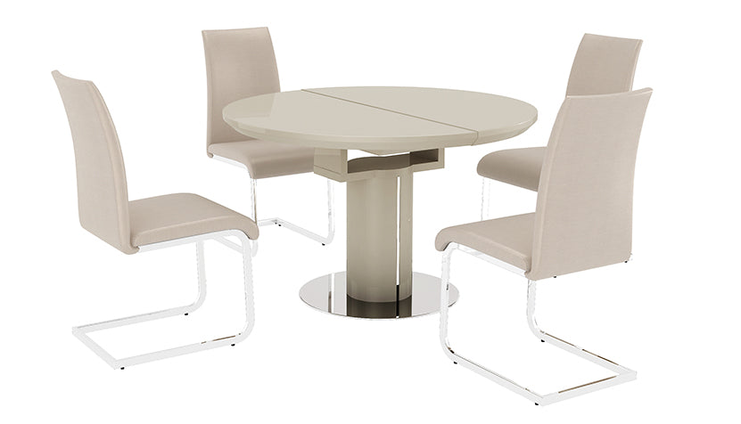 Kyoto Cream Round Extending Dining Table with 4 Chairs