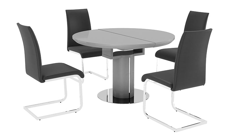 Kyoto Grey Round Extending Dining Table with 4 Chairs - AHF Furniture & Carpets