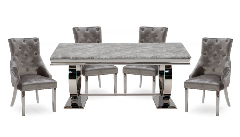 Romance Grey 1.8m Dining Table with 4 Chairs