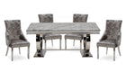 Romance Grey 1.8m Dining Table with 4 Chairs - AHF Furniture & Carpets