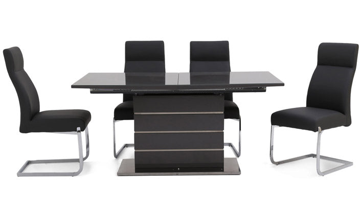 Tokyo Extending Grey Dining Set with 4 Chairs