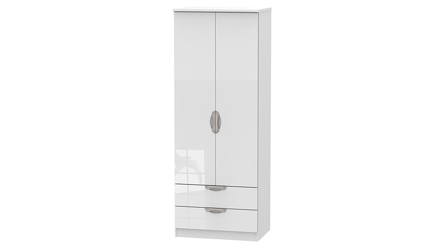 Moda Tall Double 2 Drawer Wardrobe