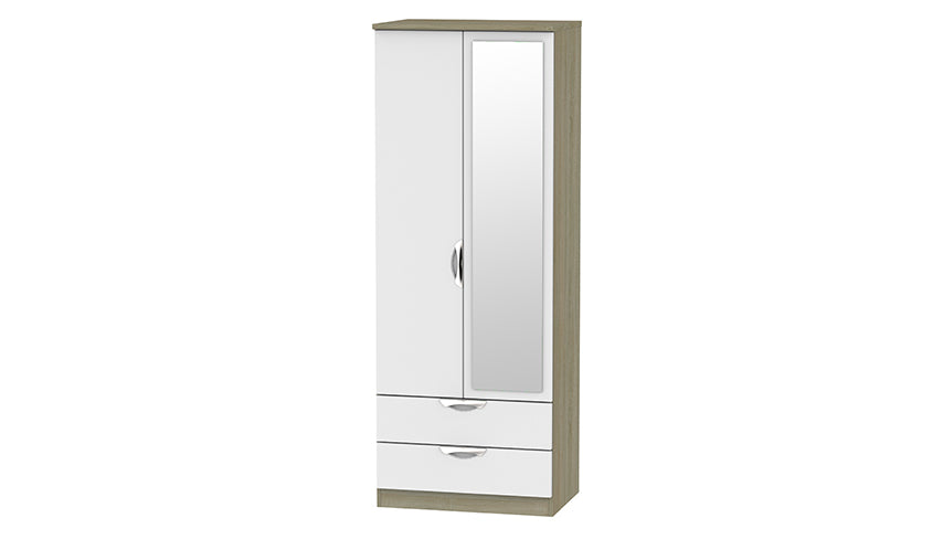 Moda Tall Double 2 Drawer Wardrobe with Mirror